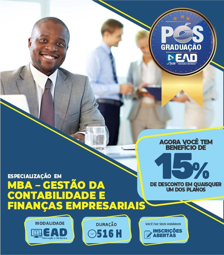 Especialização em MBA – GESTÃO DA CONTABILIDADE E FINANÇAS EMPRESARIAIS